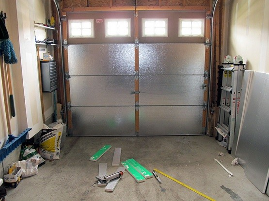Small garage door insulation panels with styrofoam