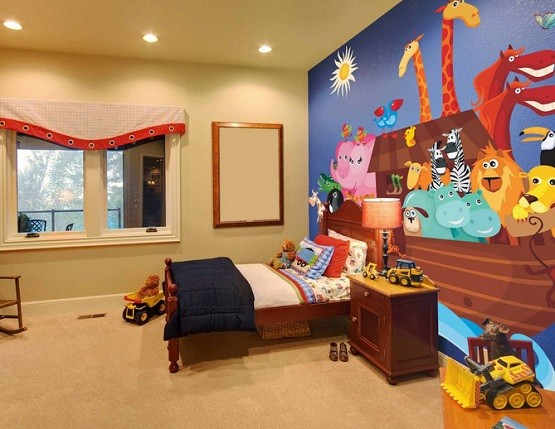 Toddler boy bedroom wallpaper home interiors for Child mural bedroom