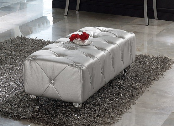Tufted silver bench for bedroom
