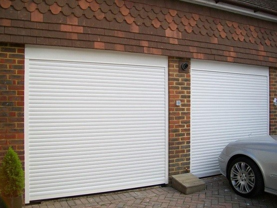 Twin White Residential Roll Up Garage Doors Home Interiors