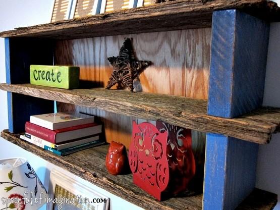 Unique rustic bedroom shelves
