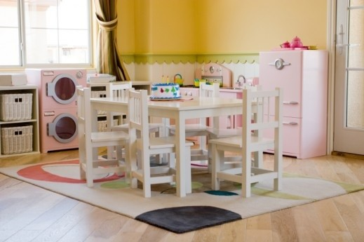 Wooden play kitchen set with dining table home interiors for Play kitchen table