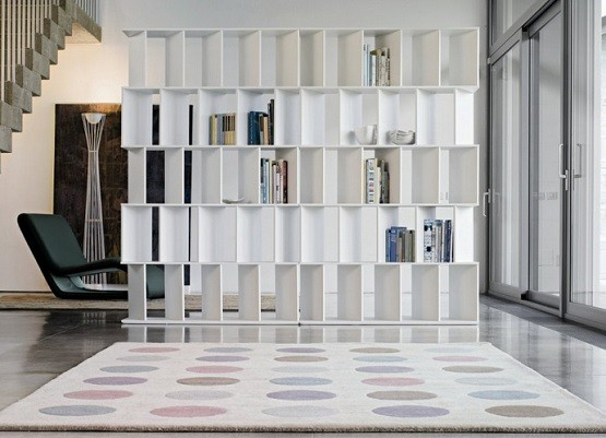 contemporary bookcase room dividers design - Home Dividers Designs