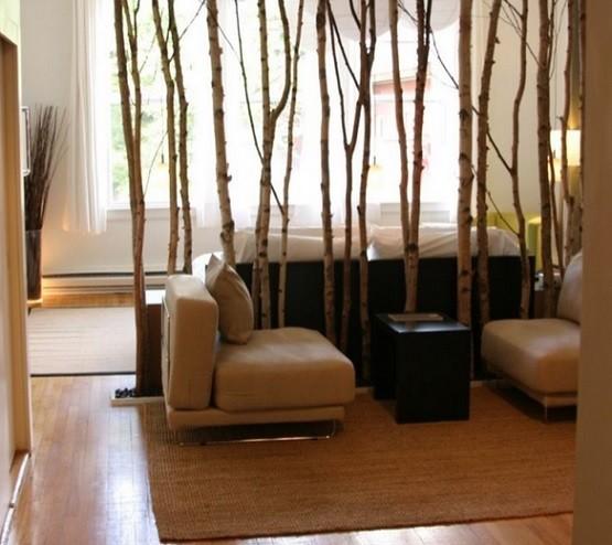Creative tree room dividers in living room