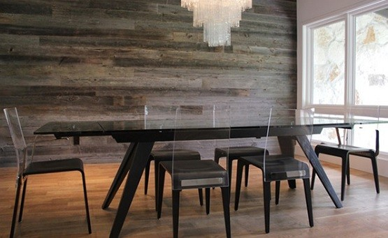 Dining room wall with reclaimed wood paneling
