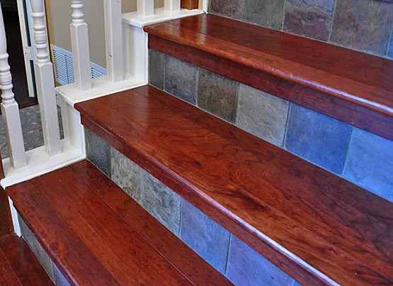 Laminate stair treads with solid hardwood