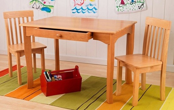 Natural color of children wooden table and chairs