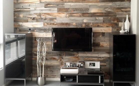 Reclaimed wood paneling for family rom decor