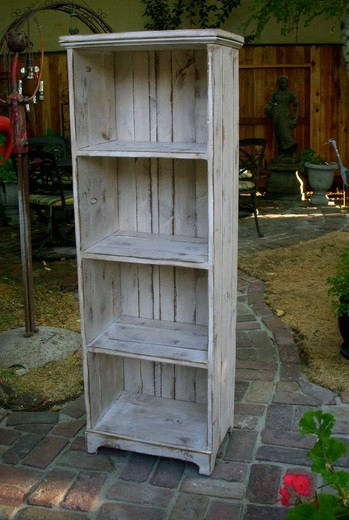 Rustic wooden bookcases with four drawers