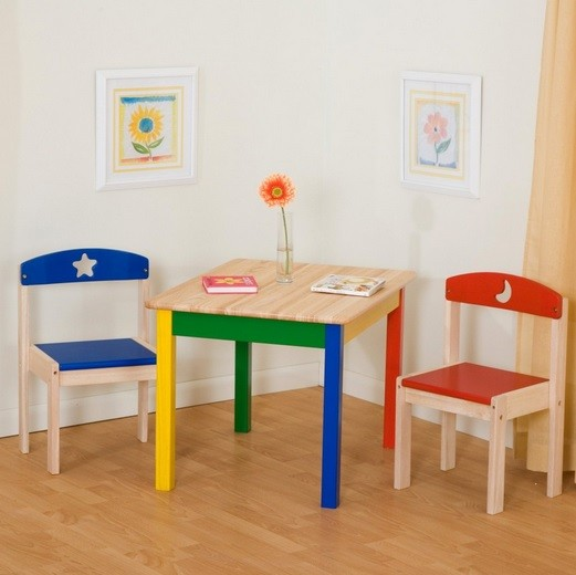 Trendy children wooden table and chairs