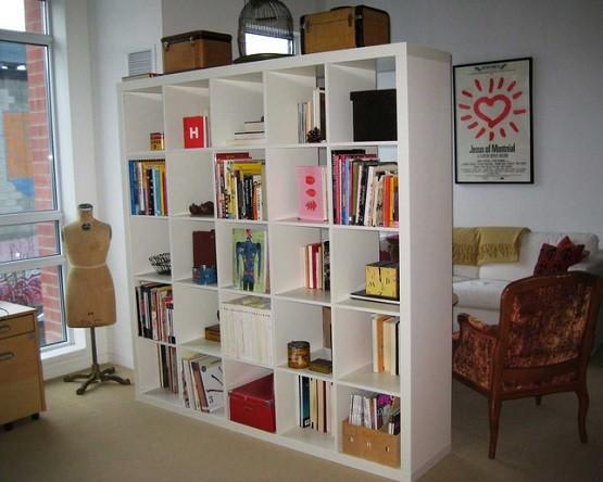 White Minimalist Bookcase Room Dividers