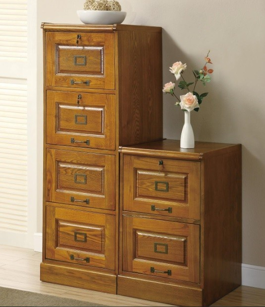 2 and 4 drawer oak wooden filing cabinets