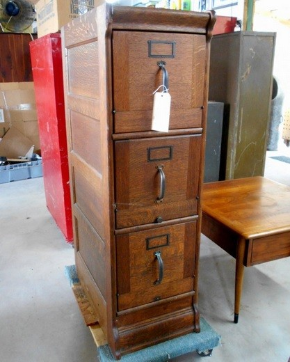 Antique Wooden Filing Cabinet With 3 Drawers
