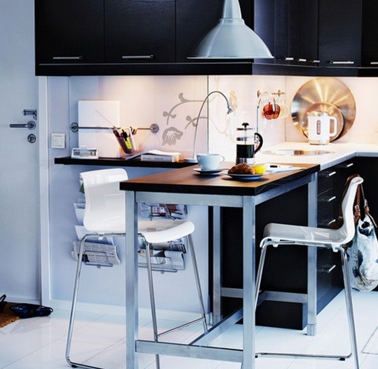Black and white coffee themed kitchen decor with modern concept