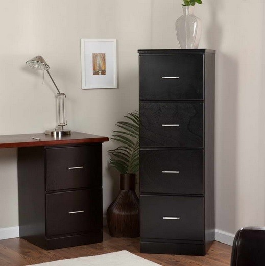 Black wooden filing cabinet for home office