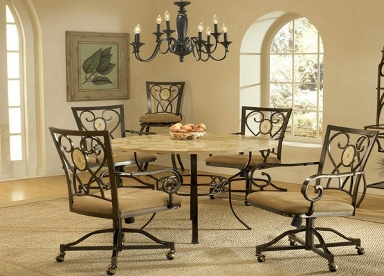 brown dining room chairs with casters home interiors. Black Bedroom Furniture Sets. Home Design Ideas