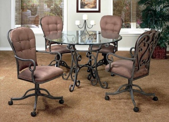 Classic style dining room chairs with casters