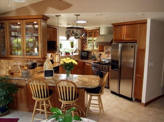 Coffee themed kitchen decor with granite countertops