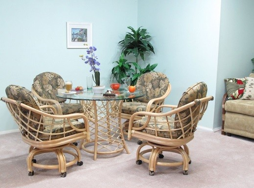 Rattan dining room chairs with casters and chair cushions