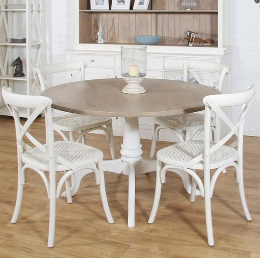 Mango Wood Dining Table Designs And Ideas » Round Mango Wood Dining Table  And White Painted Chairs