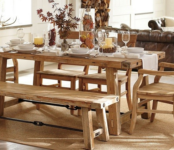 Mango Wood Dining Table Designs And Ideas Home Interiors - Distressed wood dining table with bench