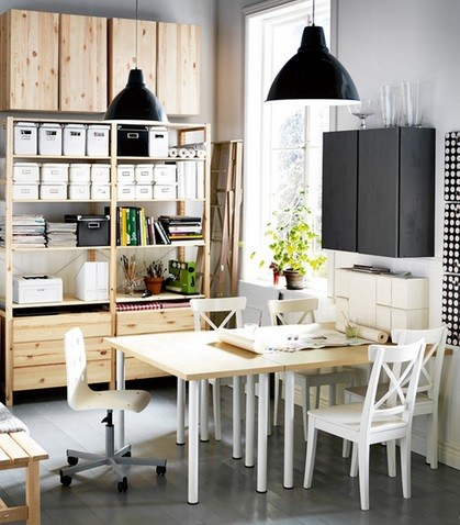 Workspace style dining room chairs with casters