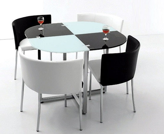 Black and white space saving dining room table and chairs for Space saving dining table