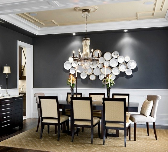 Luxurious black and white paint colors for dining rooms for Best dining room paint colors 2015