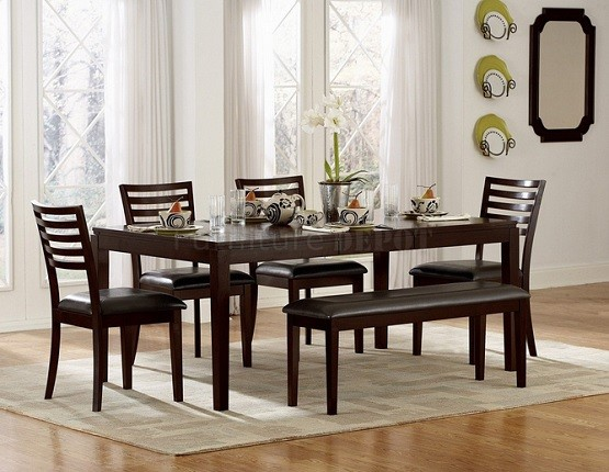 Modern narrow dining room table and small benches
