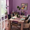 Wooden dining set with purple paint colors for dining rooms