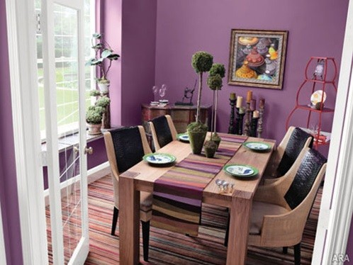 Wooden Dining Set With Purple Paint Colors For Dining