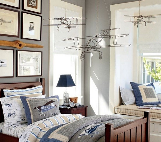 Vintage airplane decor for bedroom