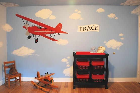Vintage airplane decor for kids room wall