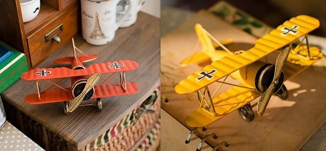 Vintage metal airplane decor