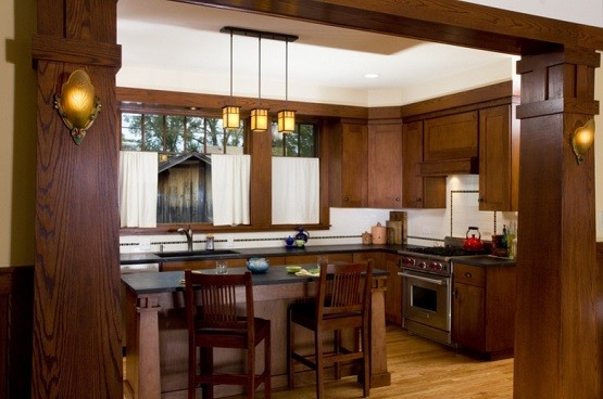 Wooden kitchen with arts and crafts lighting