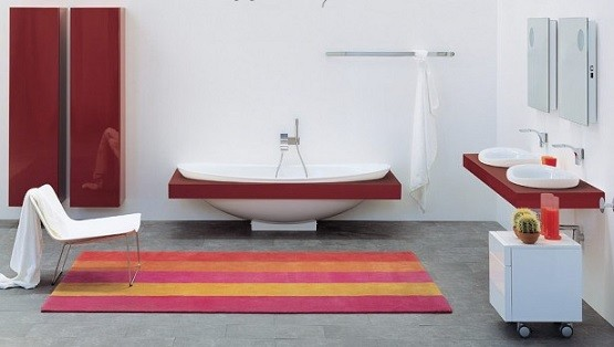 Beautiful strip color large bathroom rugs