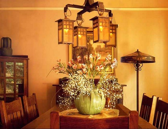 Craftsman style chandelier lighting dining room