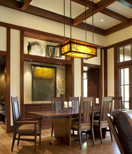 Craftsman style lighting in traditional dining room