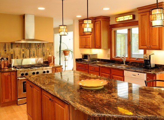 Craftsman style pendant kitchen lighting design