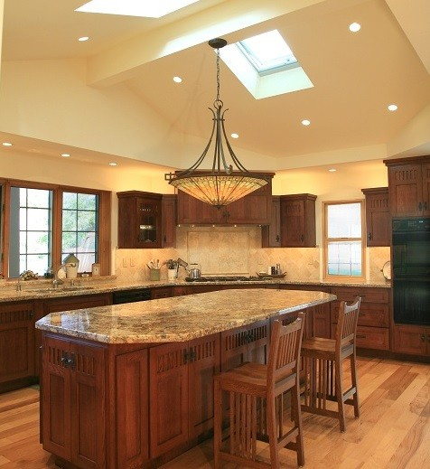 Craftsman style semi-flush ceiling kitchen lighting