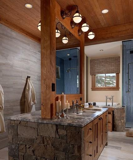 Elegant bathroom with rustic bathroom lighting
