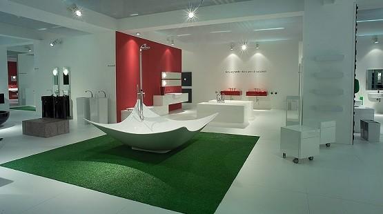 Large green bathroom mats