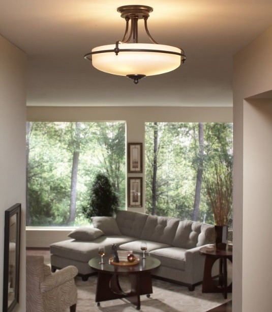 Living room with berkeley semi-flush ceiling light