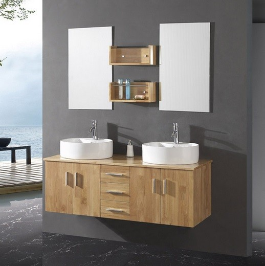 Modern unfinished bathroom vanities with double round white sinks