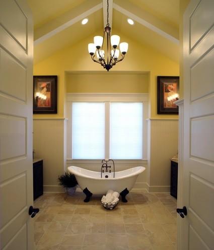 Rustic bathroom ceiling lighting design