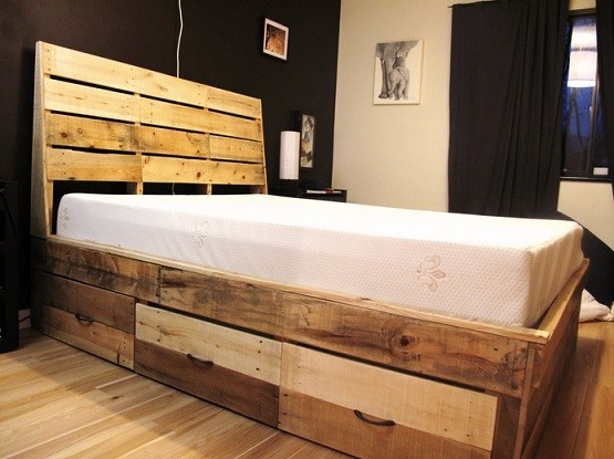 Rustic style unfinished reclaimed wood bedroom furniture