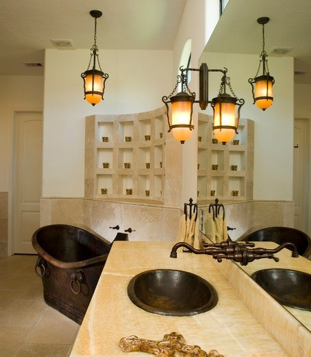 Simple bathroom design with rustic bathroom lighting
