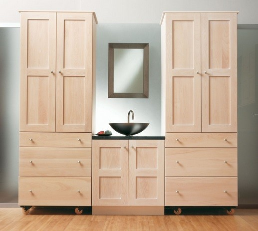 Simple unfinished bathroom vanities and cabinets with simple framed mirror