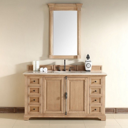 Unfinished bathroom vanities with simple framed mirror