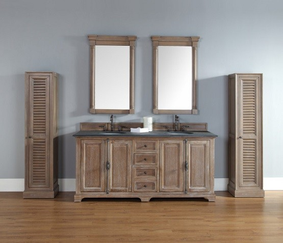 Unfinished bathroom vanities with tall pantry cabinet